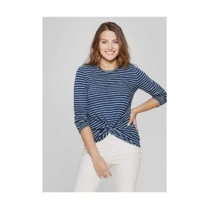 Universal Thread Striped Long Sleeve Knotted Top